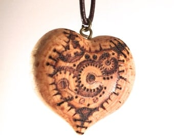 Steampunk Heart Pendant - wooden heart necklace, wood heart pendant, pyrography pendant, wood burned necklace, heart necklace, wood jewelry