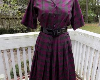 50's 1950's New Look Purple & Gray Checkered Print Autumn Fall Shirtwaist Day Dress