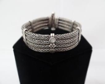 Vintage Oxidized Silver 4-Row Bracelet