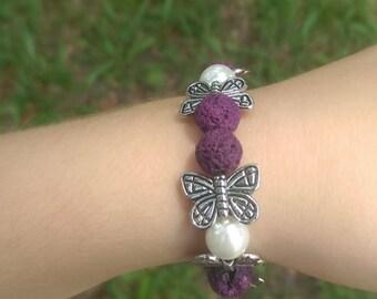Childrens butterfly lava rock bracelet