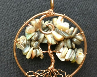 Shell Tree of Life handmade wire wrapped pendant