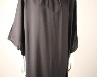 1960s Black Split-Sleeve Shift Dress