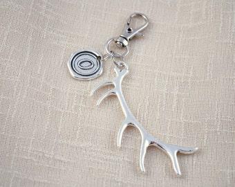 ANTLERS keychain, FREE SHIPPING, animal keychain, deer keychain, hunting keychain, personalised keyring, Initial Keychain