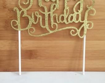 Happy Birthday Gold Sparkle Cake Topper