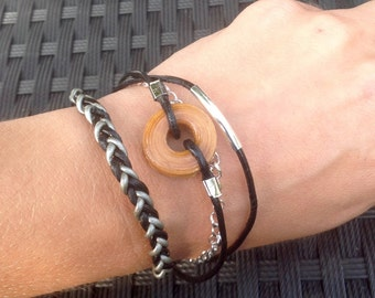 Bracelet leather and wood