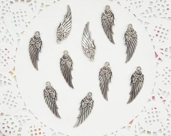 Silver Tone Rose Angel Wing Charms