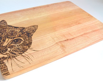 Peeping Cat chopping board - Handmade - Wood burned - Pyrography - Homeware gift