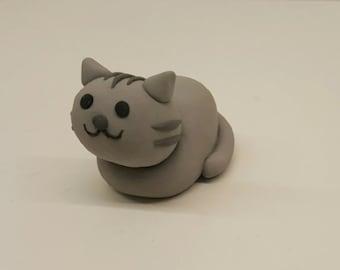 Grey Loafing Kitty Figurine
