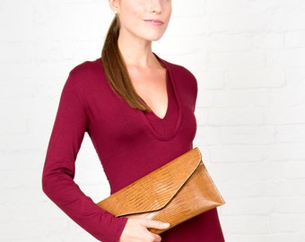 Brown Lizard Embossed Leather Clutch and Shoulder Handbag