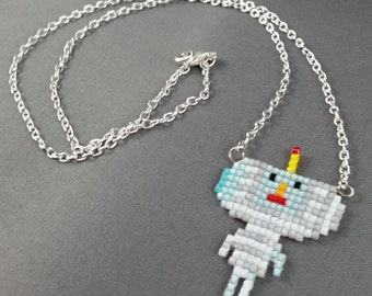 Katamari Cousin Necklace - Opeo Necklace Pixel Necklace Katamari Necklace Pixel Jewelry 8 bit Necklace Seed Bead Neklace Video Game Necklace
