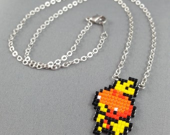 Torchic Necklace - Pixel Necklace Pokemon Necklace Pixel Jewelry 8 bit Necklace Seed Bead Neklace Video Game Necklace Starter Pokemon