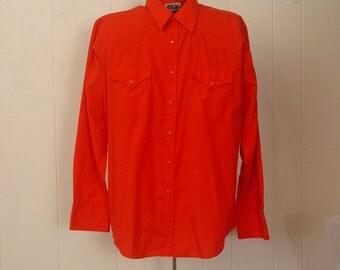 Vintage 1980s Cowboy shirt red western Rockabilly ELY 16 1/2 x 35 XL
