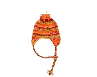 Child Ear Flap Hat- crochet