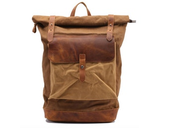 Leather Backpack, Laptop Backpack, Waxed Canvas Backpack, Leather Backpack Man, Leather Satchel Backpack, Personalised Backpack
