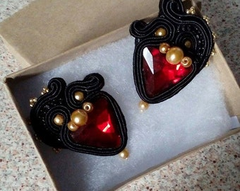 Small red, black and gold Stud Earrings