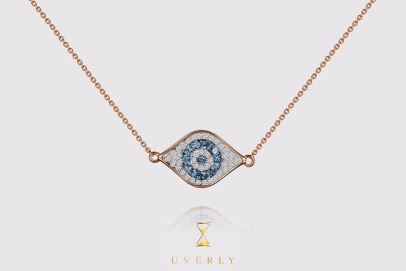 14k Solid Real Yellow White Rose Pink Gold Evil Eye Diamond 0.21ct Sapphire Women's Chain Necklace 16 inches