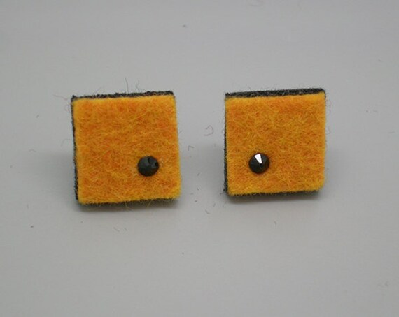 Squares of yellow squash felt earrings