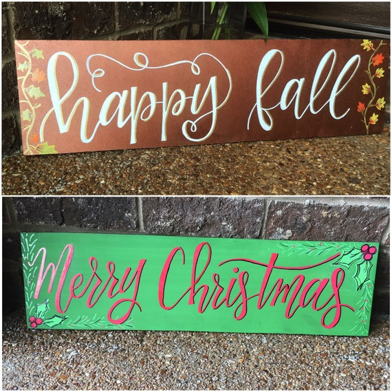 Reversible wooden Fall / Christmas board