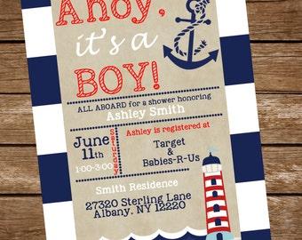 Nautical Baby Shower Invitation, Nautical Baby Boy Shower Invite, Ahoy it's a boy invitation, Baby Boy Bridal Invitation, Sailor Baby Invite