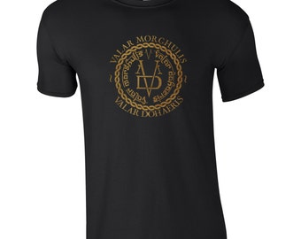 Mens Game of Thrones Valar Morghulis, Valar Dohaeris T-Shirt, Choice of 10 Colours, All Men Must Die, Gift for Him, TS 1208