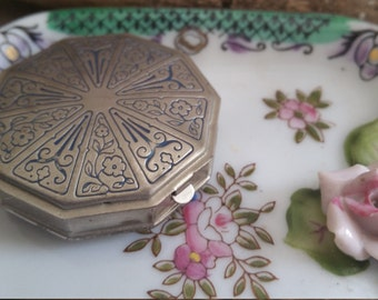 Vintage Compact For Women Powder Puff Mirror Ducette Decorative Collectible SilverTone Gift For Her Purse Accessory Vanity Item Unique Gift
