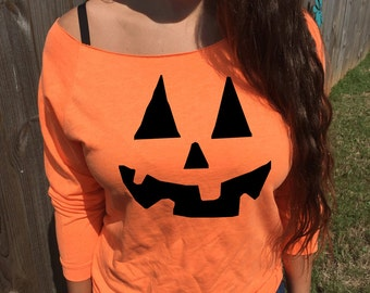 Pumpkin Face Halloween Sweater - Costume Party Outfit Idea - Jack O Lantern Face Sweater