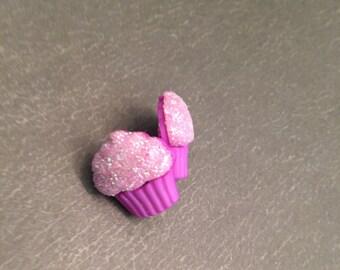Pink Purple Sparkly Cupcake Post Earrings