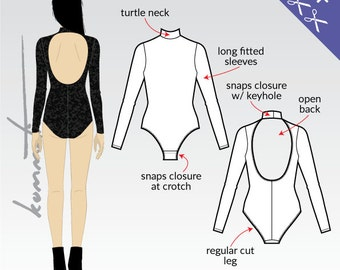 XS-XL Bodysuit with open back and long sleeves (PDF sewing pattern for jersey)