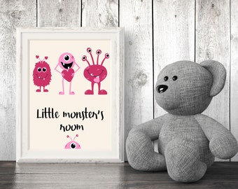 Little Monster's Room - nursery room - Beautiful print - great gift affordable home and wall decor - Instant Download.