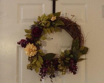 Front Door Wreath. Everyday Wreath. Grapevine Wreath