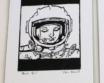 Black and White Space Print - Women in Space - Linoprint - Valentina Tereshkova - Cosmonaut