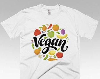 Vegan shirt, Vegan Clothing, Vegan Gifts, Vegan t shirts, Funny t shirts, White Vegan Fruit Salad