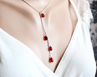 ruby red necklace silver red jewelry teardrop necklace lariat necklace prom jewelry daughter gift for graduation fashion necklace gifts Y35