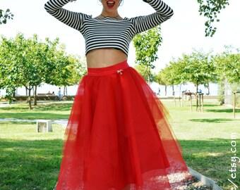 Red Tulle Skirt, Women Skirt, Maxi Tulle Skirt, Adult Tulle Skirt, Engagment Tulle Skirt, Pin Up Girl, Long Tulle Skirt, Bachelorette Tutu