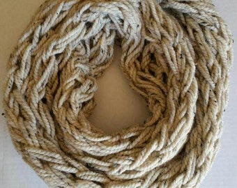 Oatmeal Arm-Knit Scarf