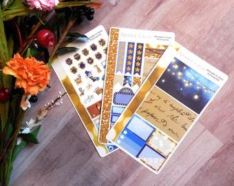 Midnight in Paris inspired 1920s Navy and Gold Glitter Personal Sized Weekly Planner Sticker Kit