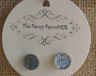 Grey sparkle button earrings
