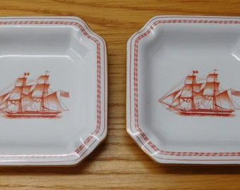 Pair Spode Trade Winds Red Ashtrays