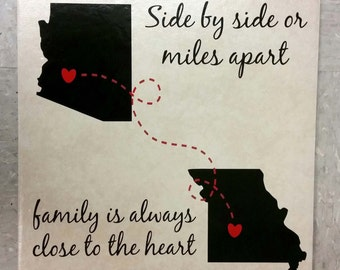 Side by side or miles apart family is always close to heart ceramic tile, long distance gift, personalized tile