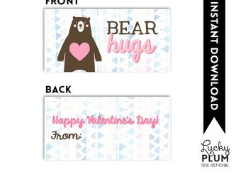 Bear Hugs Valentine Printable / Gummy Bear Valentine Printable / Valentine Printable / Bear Hugs Valentine Tag / Bear Hugs Treat Bag Topper