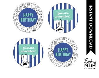 Pancakes Cupcake Toppers / Pancake Labels / Pancakes Favor Tags / Waffle Cupcake Toppers / Blue Green Cupcake Toppers /