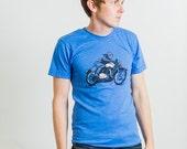 Heather Lake Blue Motorcycle Unisex Poly Cotton Tee
