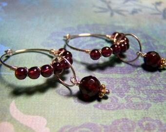 Garnet Gemstone Hoop Earrings, Gemstone Earrings, Garnet Earrings, Gifts for Her, January Birthstone, Wire Wrapped Earrings, Hoops