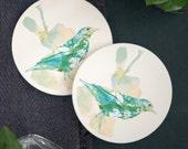 Bird Print Coaster Set, Made of Ceramic, Set of 2, Housewarming Gift, Hostess Gift, Home Decor, Botanical Illustration, Round, Teal & Yellow
