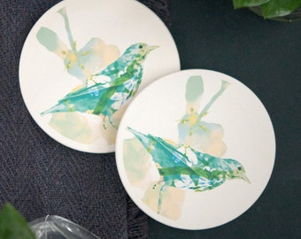 Ceramic Coaster Set | Illustrated Bird Art | Set of 2 | Housewarming Gift | Hostess Gift