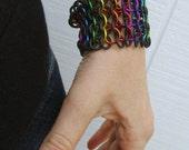 Pinion Cuff - Rainbow Unisex Chainmaille Stretch Bracelet