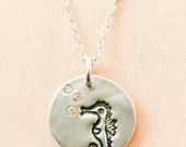 Little SEAHORSE NECKLACE (sterling silver) by boygirlparty - original animal pendant - sterling silver seahorse jewelry - sea ocean animal