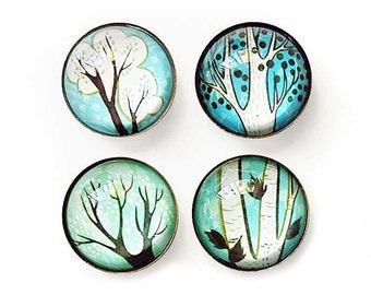 shades of blue TREE MAGNETS - glass magnets fridge magnets birch tree art magnets Tree decor Birch Tree Decor house of turquoise blue decor