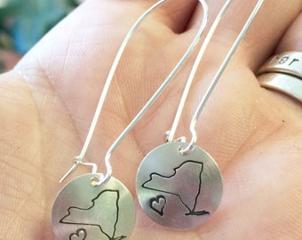Stamped Sterling New York Love Earrings