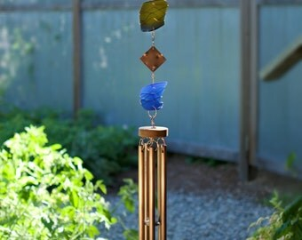 Wind Chimes Glass Copper sea glass beach glass stained glass suncatcher windchime